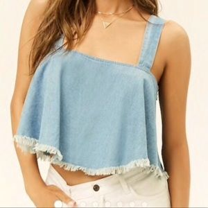 3 for $20 Forever 21 Chambray Frayed Swing Top S